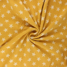 Double cotton gauze fabric - mustard yellow Drawn star x 10cm