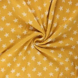 Tissu double gaze de coton Drawn star - jaune moutarde x 10cm