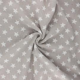 Double cotton gauze fabric - greige Drawn star x 10cm