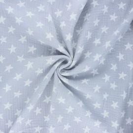 Tissu double gaze de coton Drawn star - gris clair x 10cm