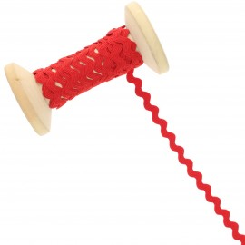 8 mm Rick Rack Trim Roll - Red Poppy