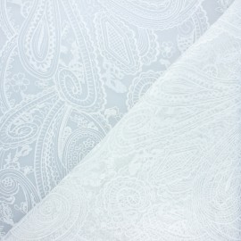 Embroidered tulle fabric - white Sabah x 10cm