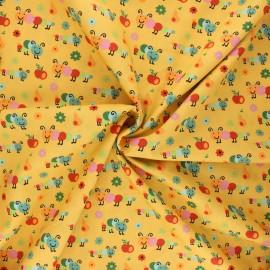 Poplin cotton fabric - yellow mustard Happy Timmy x 10cm