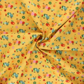 Tissu coton popeline Happy Timmy - jaune moutarde x 10cm