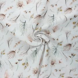 Tissu double gaze de coton Douce flore - écru x 10cm