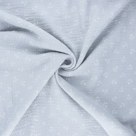 Double cotton gauze fabric - light grey Ohé matelot ! x 10cm