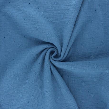 Tissu double gaze de coton brodé Andrée - bleu houle x 10cm