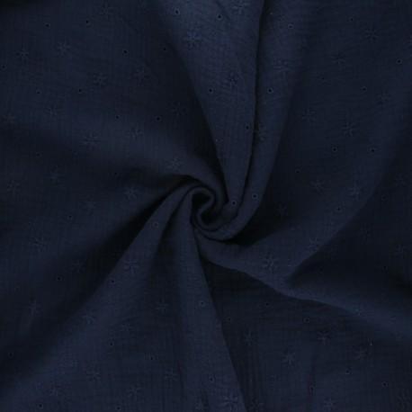 Tissu double gaze de coton brodé Andrée - bleu nuit x 10cm
