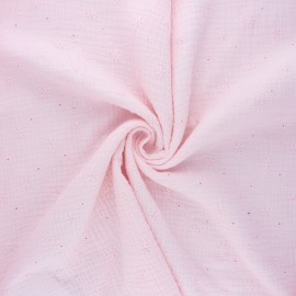 Embroidered double gauze cotton fabric - baby pink Andrée x 10cm