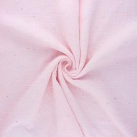 Tissu double gaze de coton brodé Andrée - baby rose x 10cm
