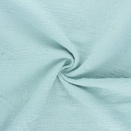 Embroidered double gauze cotton fabric - opaline Nina x 10cm