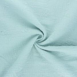 Tissu double gaze de coton brodé Nina - opaline x 10cm