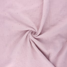 Embroidered double gauze cotton fabric - rose water Andrée x 10cm