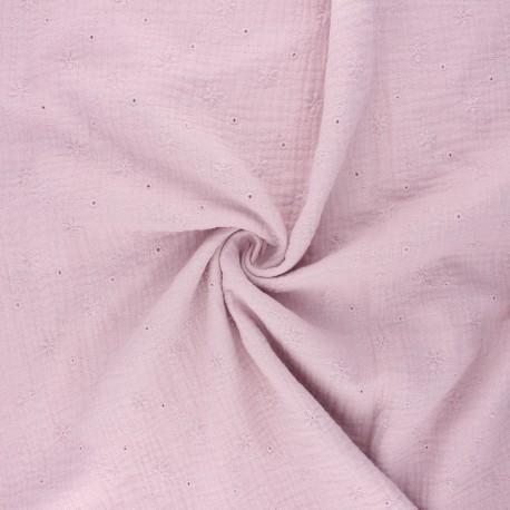 Tissu double gaze de coton brodé Andrée - eau de rose x 10cm
