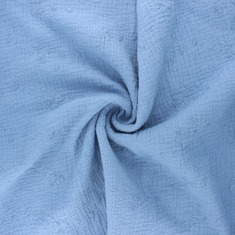 Embroidered double gauze cotton fabric - light blue Nina x 10cm