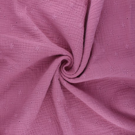 Embroidered double gauze cotton fabric - pink Andrée x 10cm