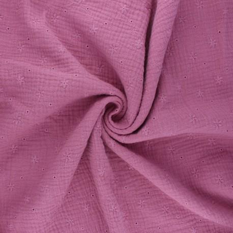 Tissu double gaze de coton brodé Andrée - rose x 10cm