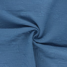 Tissu double gaze de coton brodé Nina - bleu houle x 10cm