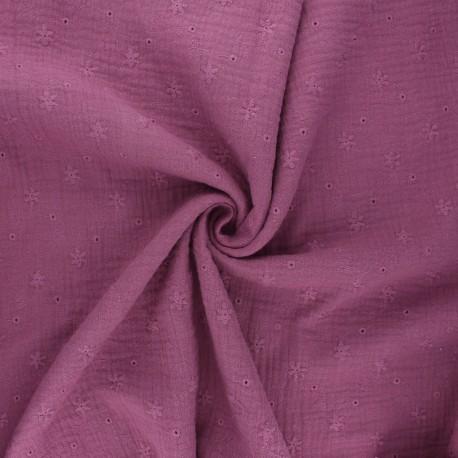 Tissu double gaze de coton brodé Andrée - figue x 10cm
