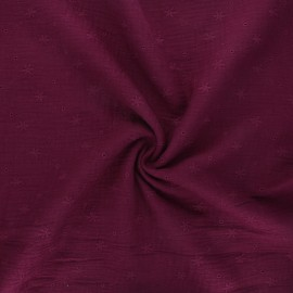 Embroidered double gauze cotton fabric - wine Andrée x 10cm