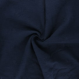 Embroidered double gauze cotton fabric - midnight blue Nina x 10cm