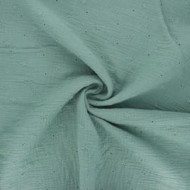 Tissu double gaze de coton brodé Andrée - eucalyptus x 10cm
