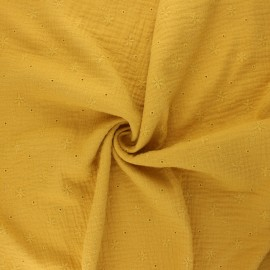 Embroidered double gauze cotton fabric - mustard yellow Andrée x 10cm