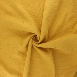Tissu double gaze de coton brodé Andrée - jaune moutarde x 10cm