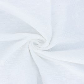 Embroidered double gauze cotton fabric - off-white Andrée x 10cm