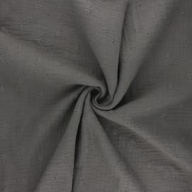Tissu double gaze de coton brodé Andrée - vert de gris x 10cm