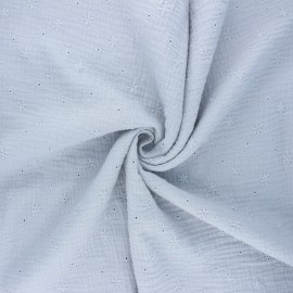 Embroidered double gauze cotton fabric - light grey Andrée x 10cm