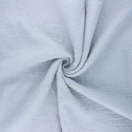 Tissu double gaze de coton brodé Andrée - gris clair x 10cm