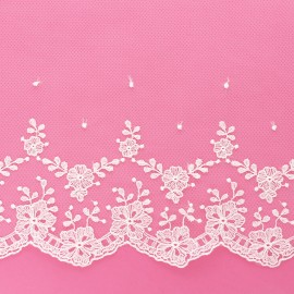 155 mm embroidery on tulle ribbon - raw Florelle x 50cm