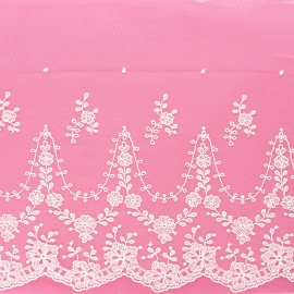 225 mm embroidery on tulle ribbon - raw Elirose x 50cm