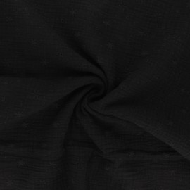 Embroidered double gauze cotton fabric - black Andrée x 10cm