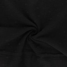 Embroidered double gauze cotton fabric - black Andrée x 10cm