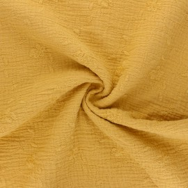 Embroidered double gauze cotton fabric - mustard yellow Nina x 10cm
