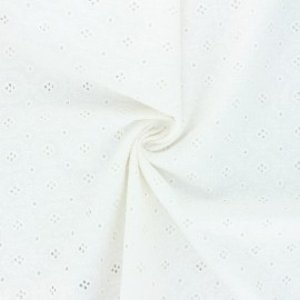 Openwork cotton voile fabric - off-white Coline x 10cm