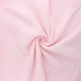 Embroidered double gauze cotton fabric - baby pink Nina x 10cm