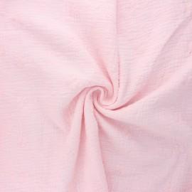 Tissu double gaze de coton brodé Nina - baby rose x 10cm