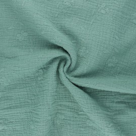 Embroidered double gauze cotton fabric - eucalyptus Nina x 10cm