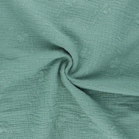 Tissu double gaze de coton brodé Nina - eucalyptus x 10cm