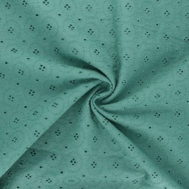 Tissu voile de coton broderie anglaise Coline - eucalyptus x 10cm