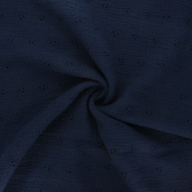 Embroidered double gauze cotton fabric - night blue Emilienne x 10cm