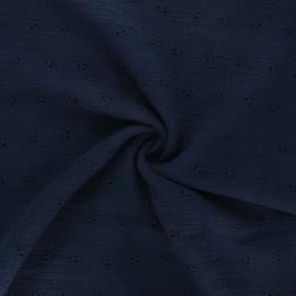 Tissu double gaze de coton brodé Emilienne - bleu nuit x 10cm