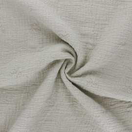 Embroidered double gauze cotton fabric - greige Nina x 10cm