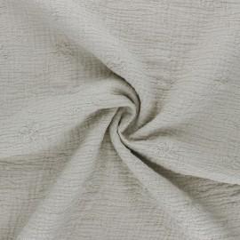 Tissu double gaze de coton brodé Nina - grège x 10cm