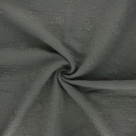 Tissu double gaze de coton brodé Nina - vert de gris x 10cm