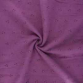 Tissu double gaze de coton brodé Emilienne - figue x 10cm