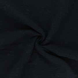 Embroidered double gauze cotton fabric - black Nina x 10cm